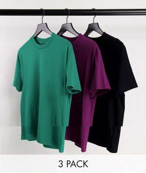 Комплект из 3 разноцветных футболок органического хлопка с круглым вырезом -Разноцветный ASOS DESIGN