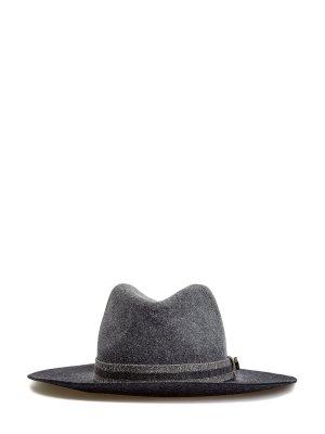 Шерстяная шляпа-трилби с лентой из люрекса LORENA ANTONIAZZI. Цвет: серый