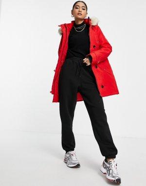 Красная парка с подкладкой из искусственного меха на капюшоне -Красный Vero Moda