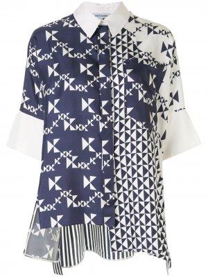 Рубашка с геометричным принтом Dice Kayek. Цвет: белый