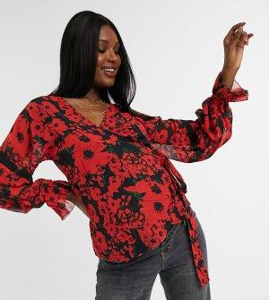 Блузка с запахом, оборками в викторианском стиле и ярким маковым принтом -Многоцветный Hope & Ivy Maternity