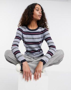 Серо-синий полосатый пуловер с логотипом -Многоцветный Tommy Jeans