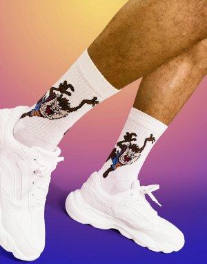 Белые спортивные носки с принтом Тасманского дьявола x Looney Tunes Space Jam 2-Розовый цвет ASOS DESIGN