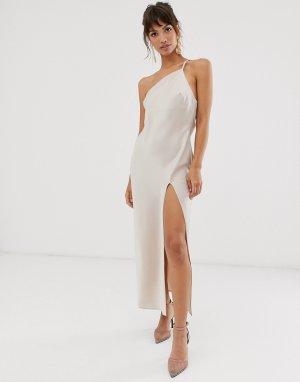 Атласное платье миди на одно плечо с драпировкой спине -Кремовый ASOS DESIGN
