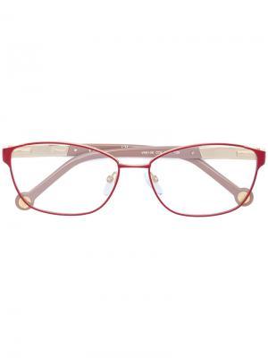 Очки в прямоугольной оправе Ch Carolina Herrera. Цвет: красный
