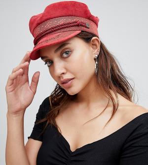 Красная кепка газетчика с вышивкой -Оранжевый Brixton