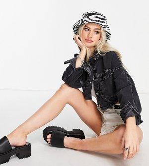 Укороченная выбеленная джинсовая куртка -Черный цвет Topshop Petite