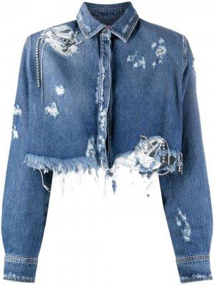 Укороченная джинсовая куртка Chiara Ferragni. Цвет: синий