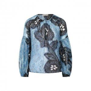 Шелковая блузка Ulla Johnson. Цвет: синий