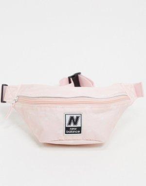 Сумка-кошелек на пояс персикового цвета с логотипом -Розовый New Balance