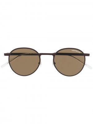 Солнцезащитные очки в круглой оправе Montblanc. Цвет: коричневый