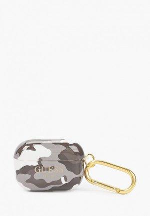 Чехол для наушников Guess Airpods Pro, TPU with carabin Camouflage Black. Цвет: серый