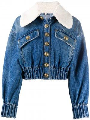 Джинсовая куртка с воротником из овчины Balmain. Цвет: синий