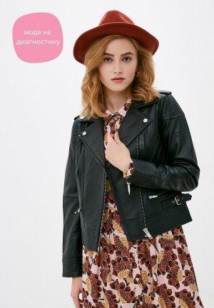 Куртка кожаная Rich&Royal. Цвет: черный