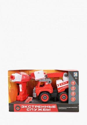 Игрушка радиоуправляемая 1Toy Экстренные службы пожарн. подъемник на р/у. Цвет: красный