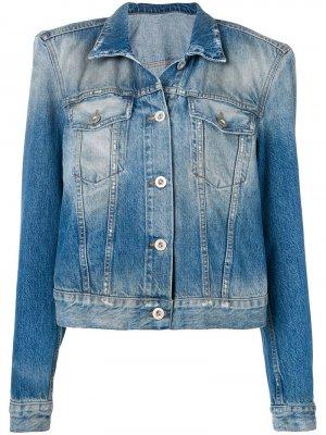 Джинсовая куртка из вареного денима Unravel Project. Цвет: синий