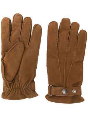 Классические перчатки Lardini. Цвет: коричневый