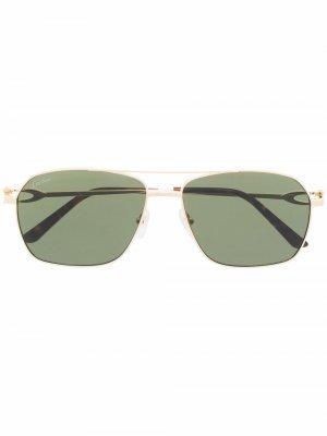 Солнцезащитные очки-авиаторы CT0306S Cartier Eyewear. Цвет: желтый