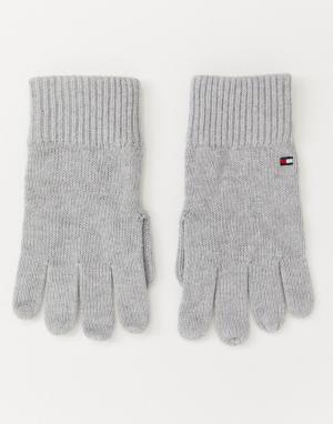 Серые перчатки из хлопка и кашемира Tommy Hilfiger. Цвет: серый