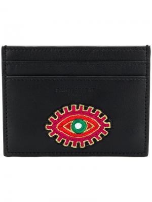 Визитница Eye с вышивкой Saint Laurent. Цвет: черный