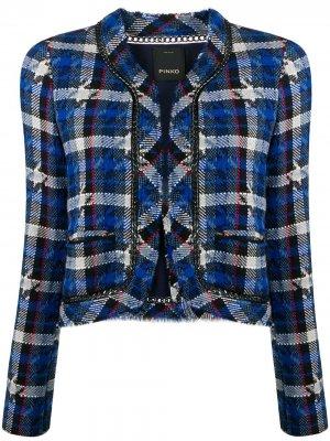 Укороченный твидовый пиджак Pinko. Цвет: синий