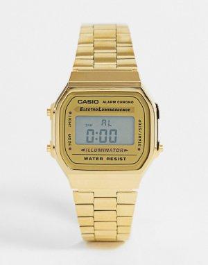 Цифровые часы в стиле унисекс с позолоченным браслетом A168WGEA-9EF-Золотистый Casio