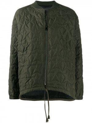 Стеганая куртка-бомбер в стиле милитари 8pm. Цвет: зеленый