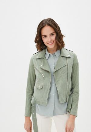 Куртка кожаная Arma. Цвет: зеленый