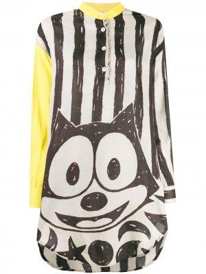 Рубашка оверсайз 1980-х годов Felix the Cat JC de Castelbajac Pre-Owned. Цвет: серый