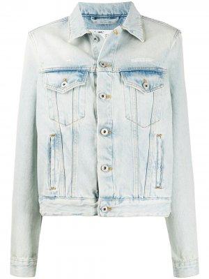 Джинсовая куртка из вареного денима Off-White. Цвет: синий