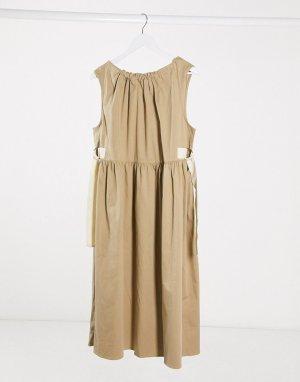 Свободное повседневное платье миди с лентами -Белый ASOS DESIGN