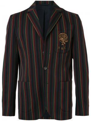 Полосатый пиджак с вышитым логотипом Kent & Curwen. Цвет: разноцветный
