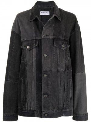 Джинсовая куртка со вставками Balenciaga. Цвет: черный