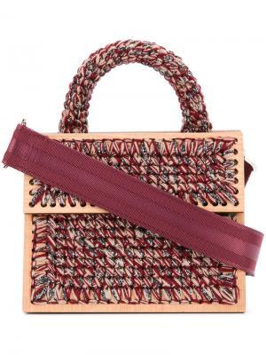 Сумка-тоут с плетенными вставками Antonina Copacabana 0711. Цвет: красный