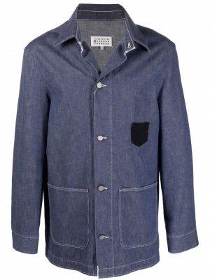 Джинсовая куртка-рубашка на пуговицах Maison Margiela. Цвет: синий