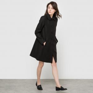 Пальто с накидкой и карманами. LA REDOUTE COLLECTIONS. Цвет: черный
