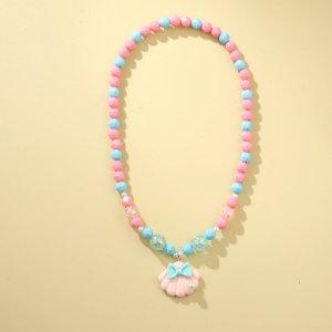 Ожерелье из бисера с декором ракушки для девочек SHEIN. Цвет: розовые
