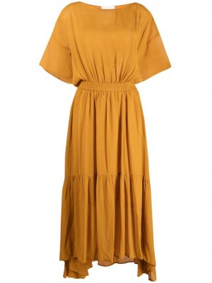 Ярусное платье 8pm. Цвет: желтый