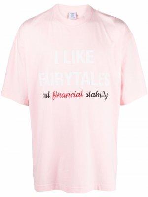 Fairytales slogan T-shirt VETEMENTS. Цвет: розовый