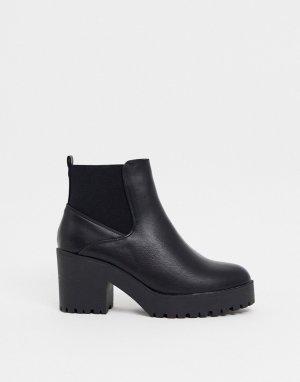 Черные ботинки челси на массивной подошве и каблуке -Черный New Look