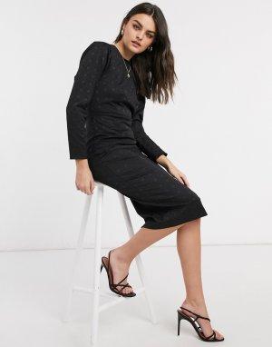 Черное платье-футляр с объемными рукавами Closet-Черный Closet London