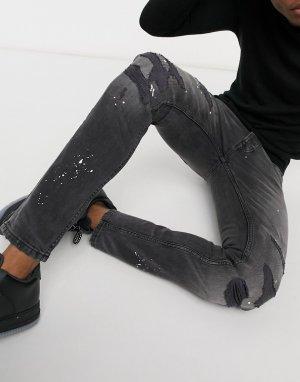 Черные джинсы скинни с принтом брызг краски -Синий Topman