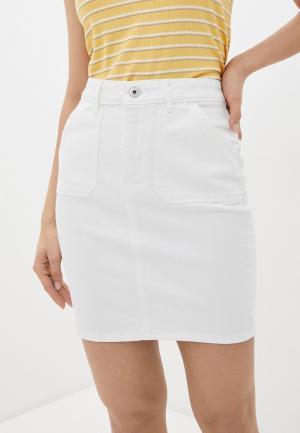 Юбка джинсовая Ichi. Цвет: белый