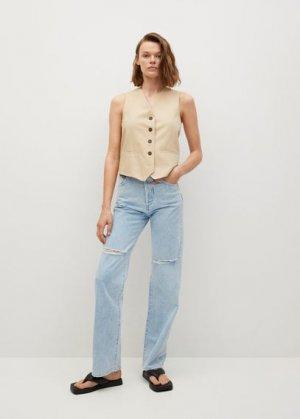Прямые джинсы с завышенной талией - Kaia Mango. Цвет: выбеленный синий
