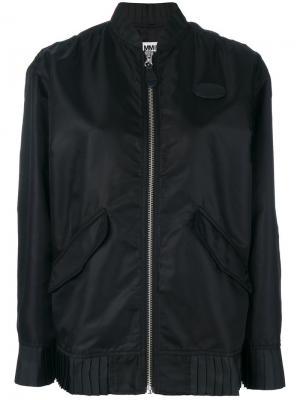 Куртка-бомбер с плиссированной отделкой по краю Mm6 Maison Margiela. Цвет: чёрный