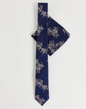 Набор темно-синего цвета из галстука и платка для пиджака с цветочным принтом Burton China-Темно-синий Menswear