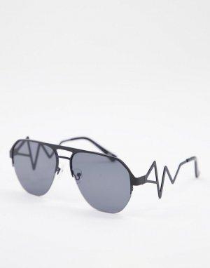 Черные солнцезащитные очки с отделкой на оправе -Черный цвет Jeepers Peepers