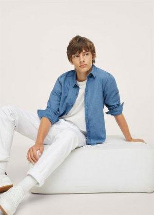Джинсовая рубашка из хлопка - Bray Mango. Цвет: синий средний