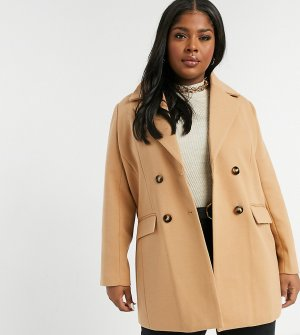 Двубортное пальто-бушлат Plus Fashion Union-Бежевый Union