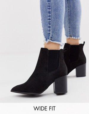 Черные ботинки челси на каблуке из искусственной замши -Черный New Look Wide Fit